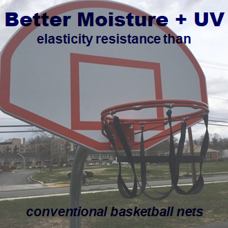 Better moisture + UV elasticity resistance than con breaking resistance strength than conventional basketball nets